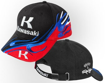 a231545926dc47 Kawasaki Baseball Cap 3D EMBROIDERED Logo Car Hat Mens Womens Gift  Accessories Adjustable T Shirt Friend Black Blue Red Motorcycle Moto Bike