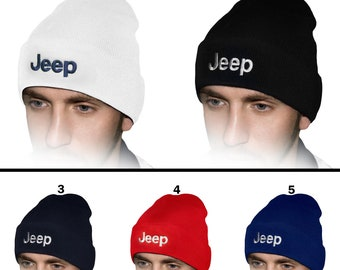 bd9e8b358ad JEEP Beanie Hat EMBROIDERED Logo Car Auto Hat Winter Knit Baseball Cap Mens  Womens Friend Ski Gift Accessories T Shirt Black White Blue Red