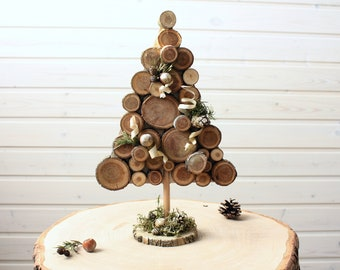 DIY kit from Small Wooden SLices for Kids and Adults, DIY Home Decor Accessories, Christmas Tree Wooden Table Decor, Family Gift for Home