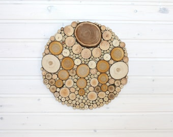 Aesthetic Round Wall Decor from Small Wooden Slices 15 inches (40 cm), Handmade Farmhouse Wall Hanging for Home Decoration