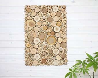 Rustic Rectangular 3D Panel from Small Wooden Slices 20x28 inch (50x70cm), Handmade Rustic Wall Hanging for Room Decor, Unique Gift for Home