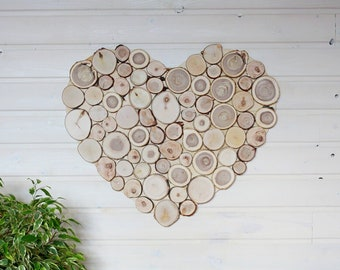 Unique Heart Panel from Small Wooden Slices 20x22 inches, Farmhouse Eco Friendly Wall Hanging for Home Decor, First Home Gift Idea