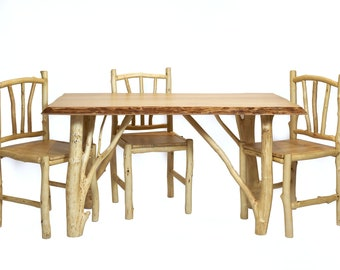 Rustic Dining Set for 4 People Wooden Table with Chairs from Birch Farmhouse Dining Room Kitchen Furniture Eco Friendly Decor for Home