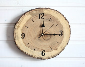 Handcrafted Elm Wood Wall Clock, Farmhouse Accessories for Unique Home Decoration, Housewarming gift for New Home, Modern Woodland Clock