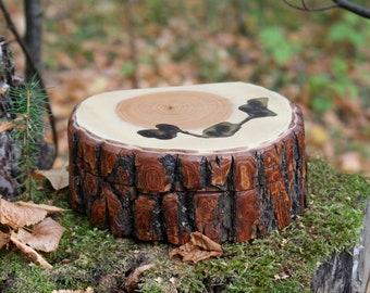Woodland Box with Live Edge, Unique wooden log box, Rustical storage Box, Stump jewelry box, Primitive decor, Wood décor