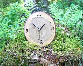Handcrafted  Light Elm Wood Wall Clock, Farmhouse Accessories for Unique Home Decoration, Housewarming gift for Home, Modern Woodland Clock