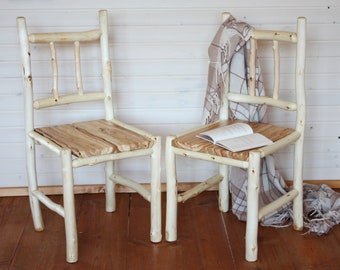 Set of 2 Log Chairs, Wooden chairs out of ash and birch wood, Rustic Furniture, Farmhouse decor, Dining chair. Quality craftmanship.