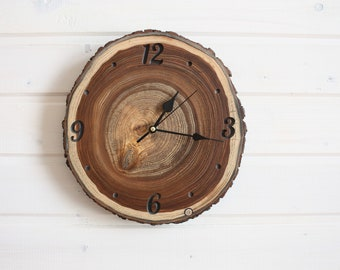 Handcrafted Dark Elm Wood Wall Clock, Farmhouse Accessories for Unique Home Decoration, Housewarming gift for Home, Modern Woodland Clock