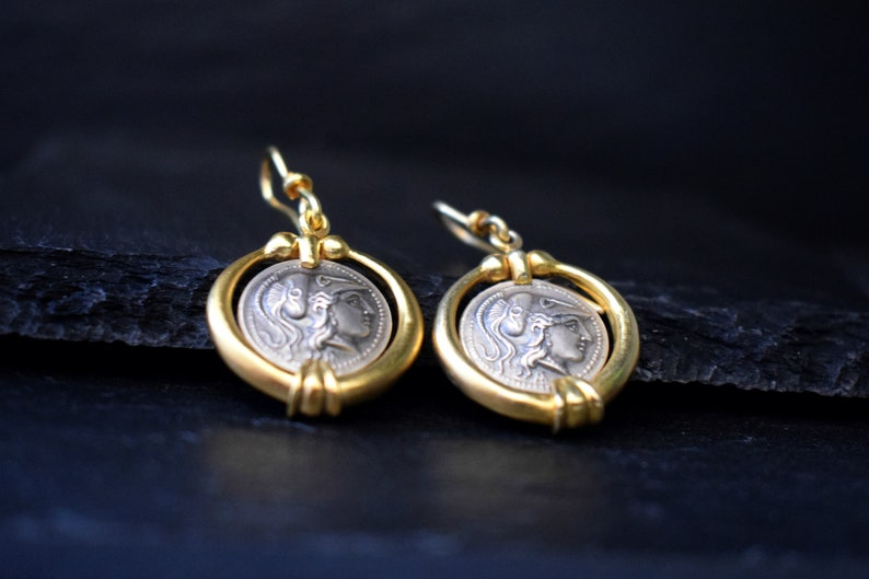 Athena Womens Gold Coin Earrings Ancient Greek Goddess Dangle Sterling Silver Pallas Minerva Jewelry Sterling Silver Graduation Gift for Her