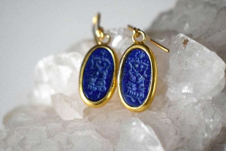 Gold Intaglio Lapis Lazuli Minoan Priestess Grecian Jewelry Set Handcarved Stone Ancient Greek Jewelry Necklaces Women Rings Stone Earrings