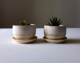 Modern Ceramic Planter with Saucer - Planter Pot and Saucer - Flower Pot Set of Two - Succulent Planter & Planter with saucer | Etsy