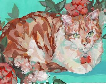 Custom Cat Portrait  - Original Art - Tempera Painting