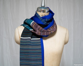 Blue Striped Men's Scarf - Vintage Kimono Silk - Multicolored Long Rectangle Guys