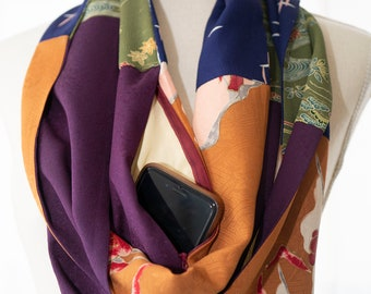 Kimono Infinity Scarf with Large Pocket - Made from Four Upcycled Kimonos - Flowers, Village, Abstract Design - Purple, Brown, Blue, Green