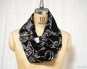 Lightweight Black Infinity Scarf - Upcycled Japanese Kimono Women's - Abstract Floral Patterns Large Fluffy