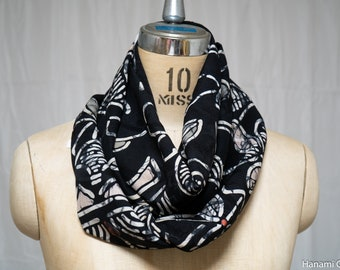 Lightweight Black Infinity Scarf with Travel Pocket - Upcycled Japanese Kimono Women's - Abstract Floral Patterns Large Fluffy - Extra Large