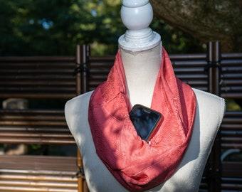 Pink with White Lines Silk Kimono Infinity Scarf with Hidden Pocket - Japanese Silk and Batik Style Dye - Autumn Otaku Streetwear