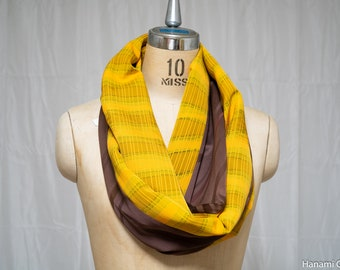 Brown & Yellow Two Tone Silk Infinity Scarf - Made with Vintage Kimono Fabric - Retro Abstract Lines and Shapes Circular - Retro 1980s