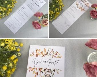 Tri-Fold Wedding Invitation with RSVP Postcard   Autumn Leaves Design