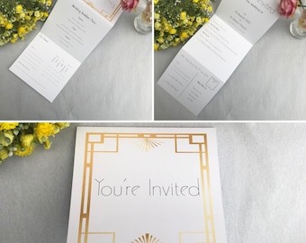 Tri-Fold Wedding Invitation with RSVP   Folded Wedding Invitation   Perforated   Art Deco Wedding Invitation   With Envelope