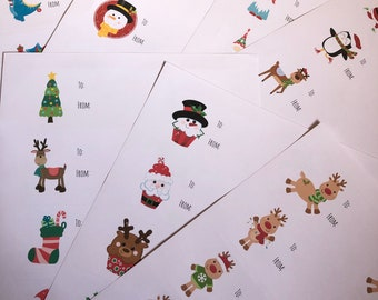 Sheet Of 10 Christmas Theme Gift Sticker Labels   Cute Fun Designs   7 Themes To Choose From   Reindeer, Cupcake, Santa, Dinosaurs & More!