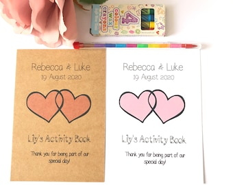 Personalised Childrens Activity Pack - Wedding - A6 - A6 size is 10.5cm x 14.8cm - WHITE or KRAFT COVER