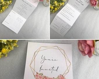 Tri-Fold Wedding Invitation with RSVP   Folded Wedding Invitation   Perforated   Floral Wedding Invitation   With Envelope