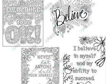 DIGITAL DOWNLOAD   50 Motivational Quotes   Motivational Colouring Pages   png  Clipart   ADULT (Swear Words Included)   Commercial Use