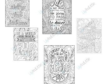 DIGITAL DOWNLOAD   Motivational Quotes   Motivational Colouring Pages   Commercial Use   Clipart   PNG