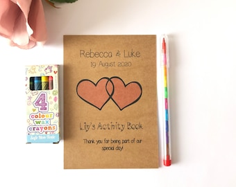 A6 - Wedding -  Children's Activity Pack - Personalised - A6 size (10.5cm x 14.8cm) - KRAFT COVER