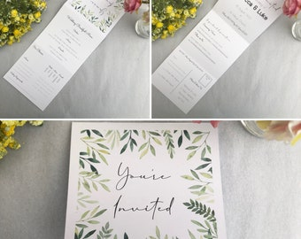 Tri-Fold Wedding Invitation with RSVP   Folded Wedding Invitation   Perforated   Botanical Wedding Invitation   With Envelope