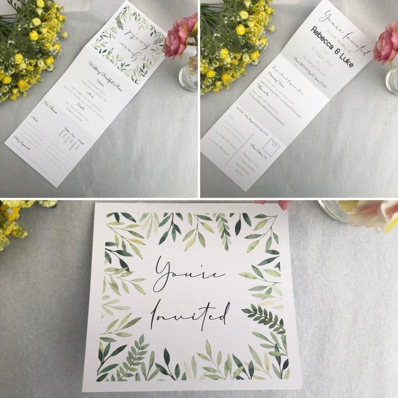 Tri-Fold Wedding Invitation with RSVP  Folded Wedding image 0