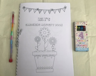 Personalised Gardening Theme Activity Book For Kids   A5 With Choice Of Crayons