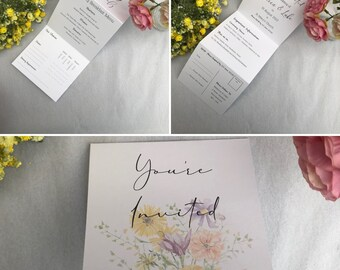 Tri-Fold Wedding Invitation with RSVP   Folded Wedding Invitation   Perforated   Wildflower Wedding Invitation   With Envelope