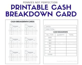 Printable Cash Breakdown Card   Cash BreakDown Count Sheet Printable PDF