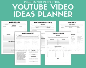 YouTube Video Ideas Planner   Video Series Planner & Checklist Printable   Video Content Ideas Planner Download