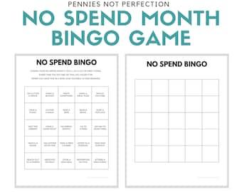 No Spend Month BINGO   No Spend Challenge Printable