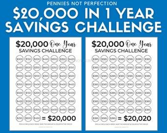 Save 20,000 Dollars In One Year   Money Saving Challenge 20K   20,000 Dollar Savings Challenge Tracker Printable
