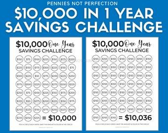 Save 10,000 Dollars In One Year   Money Saving Challenge 10K   10,000 Dollar Savings Challenge Tracker Printable