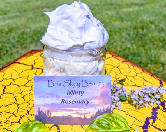 Organic natural Honey preservative free Eczema Minty Rosemary homemade lotion moisturizer women gift Shea Butter Holiday