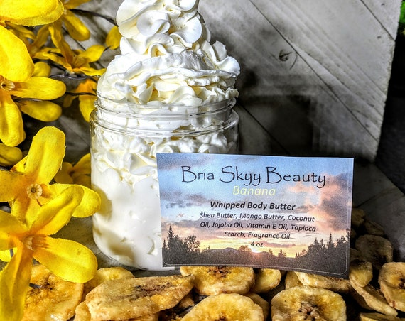 Banana Body Butter Homemade Whipped Body Butter Homemade Hand Body Lotion  Homemade Body Cream Hand Cream Silky Body Hand Cream  Mom gift