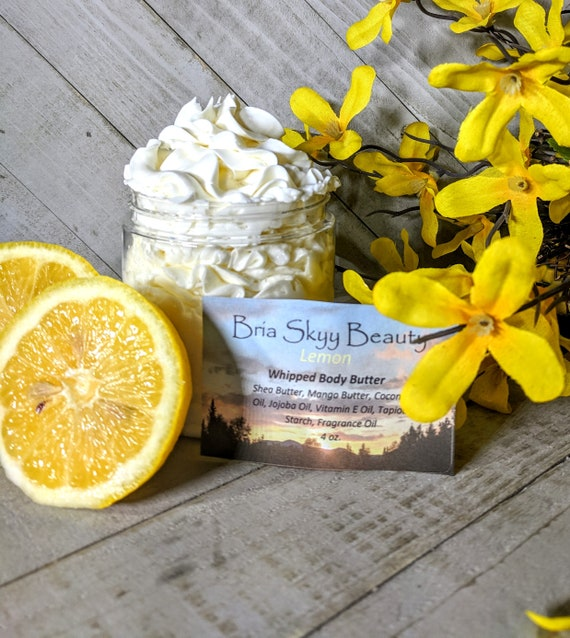 Lemon Body Butter Homemade Whipped Body Butter Homemade Hand Body Lotion  Homemade Body Cream Hand Cream Silky Body Hand Cream  Mom gift