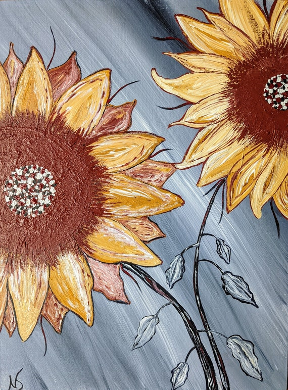 """Sunflower Original painting acrylic wall hanging gray red yellow flower canvas board 12"""" X 16"""" textured"""