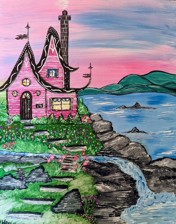 cottage fantasy  Original painting acrylic wall hanging Fairy story book waterfall