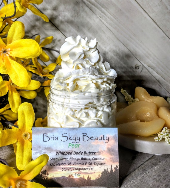 Pear Body Butter Homemade Whipped Body Butter Homemade Hand Body Lotion  Homemade Body Cream Hand Cream Silky Body Hand Cream  Mom gift