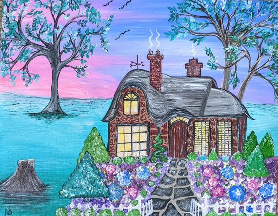 cottage fantasy  Original painting acrylic wall hanging Fairy story book flowers