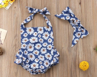 9fb358367f NEW Stylish cute spring summer boho daisy sunflower Boutique bubble romper  baby girl outfit with matching bow headband