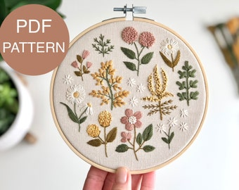 diy home decor dreamy bedroom decor craft pastel floral pdf embroidery pattern botanical flower small art bathroom decor botanic