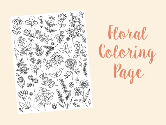 Floral coloring page coloring page for adults girls coloring