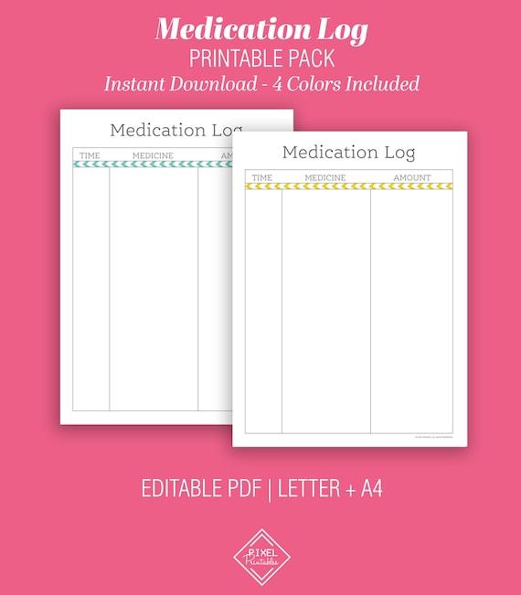 Medication Log Instant Download Medication Tracker Printable Medication List Pdf Medication Journal Health Log Medicine Pills